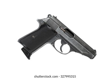 Black handgun on white background. Isolated with clipping path