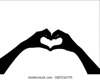 black hands forming a heart shape on white background.