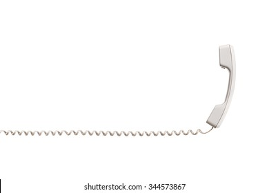 The black handset with a twisted wire, stretched horizontally. White handset is vertical, the wire is placed horizontally. Isolated on white background, close-up.
