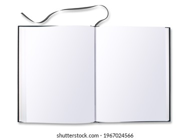 Black Hard book cover view from above and isolated on white
