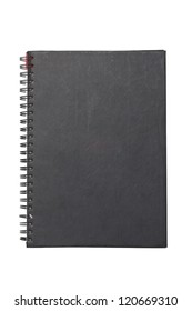Black hard cover notebook with ring binder isolated on white.