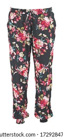 Black harem pants with pink flowers and leaves. High cut harem pants.  Isolated image on a white background. Elastic band on the legs.