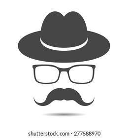 black hat with mustache and glasses isolated on a grey background