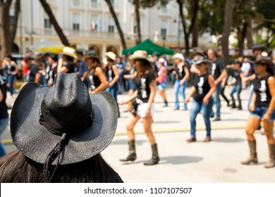 Black hat on flash mob backgroung