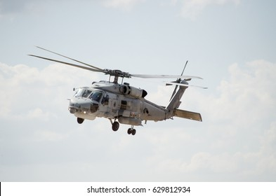 Black hawk helicopter rescue team, left down side view