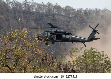 Black Hawk helicopter takes off at the Operation