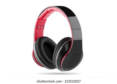 Black headphone with black center and red trim
