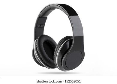 Black headphone with black center and white trim