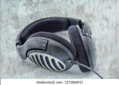 Black headphone in close up
