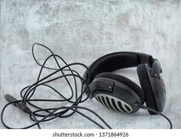 Black headphone with cord