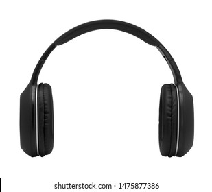 black headphone isolated on white background with clipping path ,Closeup