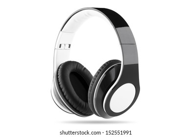 Black headphone with white center and white trim