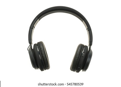 black headphones audio for listen isolated on white background