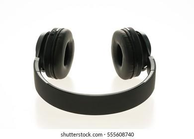 black headphones audio for listen isolated on white background