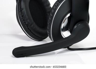 Black headphones, headset