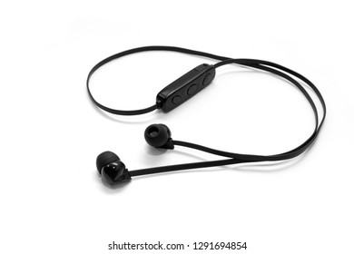 Black headphones isolated on white background. Side view