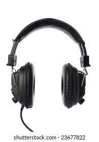 Black headphones isolated on white.