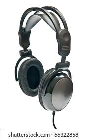 Black headphones isolated on white background