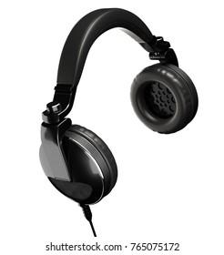 Black Headphones Isolated on White Background. 3D illustration
