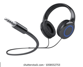 Black headphones with wire and 3.5 mm jack plug. 3d illustration isolated over white background.