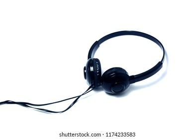 black headset put on white background isolated