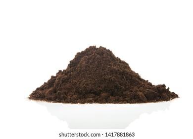 Black heap sand isolated on white background