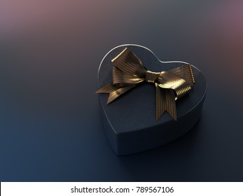 Black heart shaped gift box with golden bow on black. 3D render