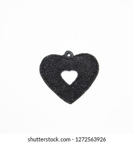 black heart and white background