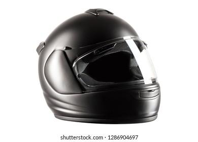 Black Helmet isolated against white background. Studio shot.
