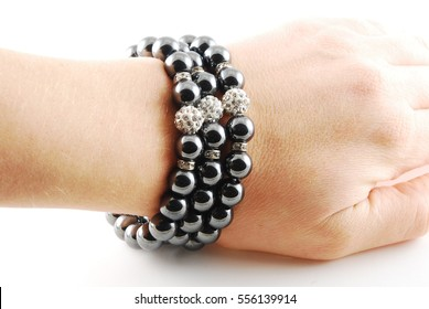 Black hematite handmade bracelet on white background