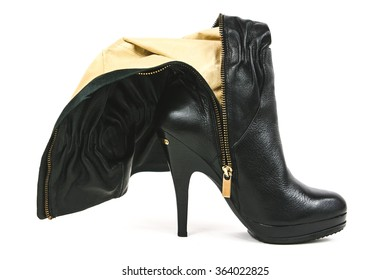 Black High Heel Boot Zipped Down on White Background