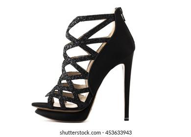 Black high heel fashion shoe on background