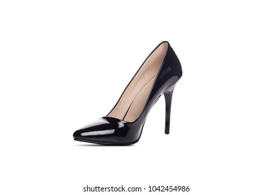 Black high heel women shoe isolated on white background
