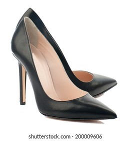 Black high heel women shoe isolated on white background.