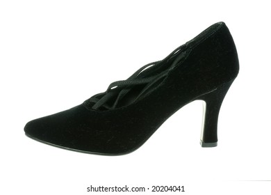 Black high heeled shoe on a white background.