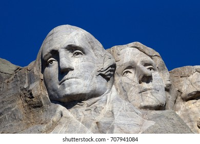 Black Hills in Keystone, South Dakota, United States - August 22, 2017: Mount Rushmore National Memorial is a sculpture carved into the granite face of Mount Rushmore