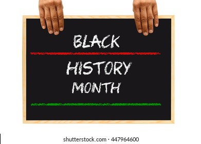 Black History Month Blackboard Hands isolated on white background