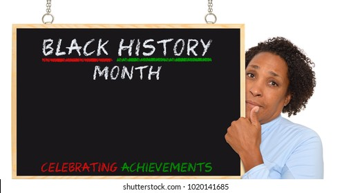 Black History Month Blackboard Woman looking at camera with thumb up white background