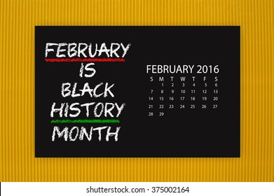 Black History Month February 2016 Calendar Blackboard hanging on yellow textured background