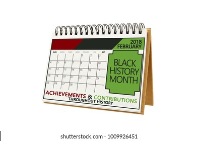 Black History Month February 2018 Calendar white background