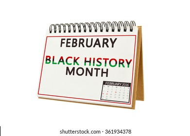 Black History Month February Calendar isolated on white background