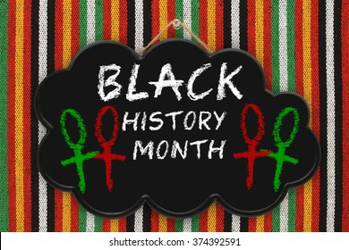 Black History Month Thought Cloud sign hanging on Striped Background