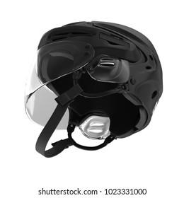 Black Hockey Helmet on white. 3D illustration
