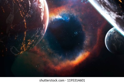 Black hole. Wormhole. Science fiction art. Elements of this image furnished by NASA