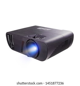 Black Home Cinema Projector Isolated on White Background. Side View of Black Cinema and Video 4k Multimedia Home Theater Projector for TV Movies and Mobile Gaming