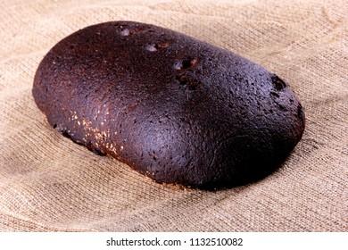 black homemade latvian bread, rye bread