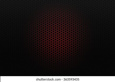 Black honeycomb background with red glowing center