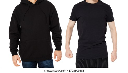 Black Hoody T-shirt mock up set isolated front view, man in black hoody and man in t shirt mockup set isolated on white background. Two guys in empty black hoodie and tshirt collage
