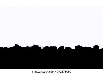 Black horizon with roofs of residential houses of a suburban village isolated on a white background. Template for inserting any background above the horizon.