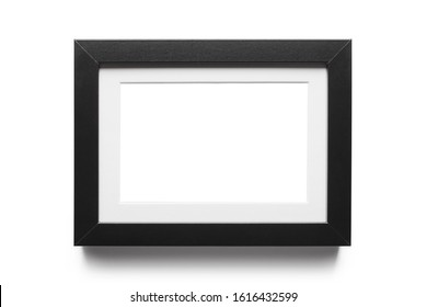 Black horizontal empty frame, isolated on white background